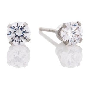 14KT White Gold 4MM Clear CZ Studs